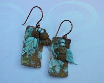 Boho copper patina earrings ORTTEC - DayLilyStudio