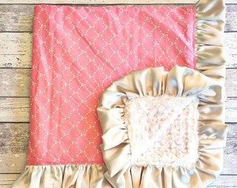 Custom Made Baby Blanket Art Gallery Fabrics Ripples Rose and Champagne Satin