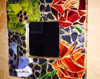 Stained glass mosaic mirror in yellow, red, orange and blue.  Stained glass mirror frame. Mirror mosaic. Glass mosaic mirror.