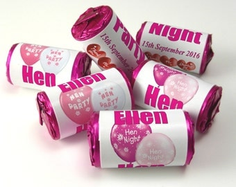Personalised Love Heart Sweets, Hen Party / Night Favours ( Select from 10 to 100 Rolls)