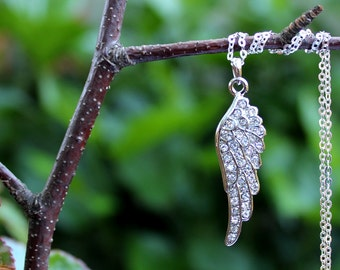 Angel Wing Pendant Necklace.Sterling Silver Chain.Swarovski Crystal.Bridal.Religious.Spiritual.Confirmation.Christian.Layer.Gift.Handmade.