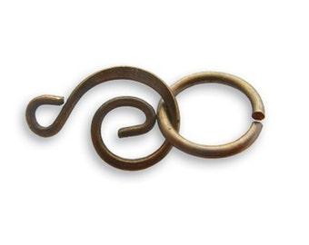 Vintaj Natural Brass 21x 9mm Swirl Clasp Set Findings Hook & Eye Connectors FN363
