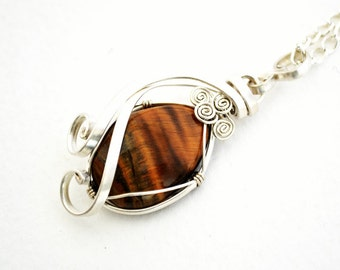 tiger eye pendant, tiger eye necklace, wire wrap tiger eye, wire wrap and tiger eye, wire wrap, tiger eye, tiger eye wire wrap