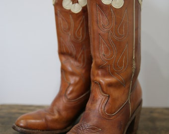 Vintage ACME Cowboy Cowgirl South Western Country Western Brown Stitched Flower Leather Boots Size 8 M
