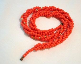 Vintage Orange Glass Bead Necklace