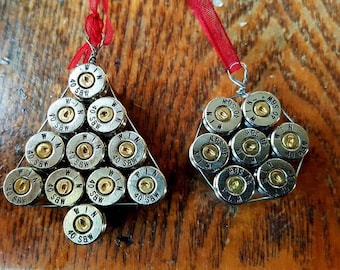 2 Bullet casing Christmas ornament (set of 2) Silver
