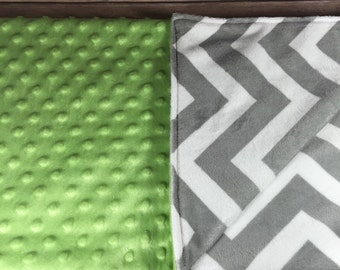 Grey Chevron Lime Green All Colors Available Made to Order Monogram Option
