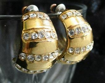 Vintage Hoop Earrings rhinestone Goldtone huggie Dangle Pierced small fashion jewelry hoop earrings Crystal earrings pierced earrings
