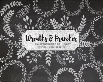 Chalk Wreath & Laurels Clipart. Chalkboard Branches, Floral Elements Clip Art. Hand Drawn Doodle Leaf, Vine, Branch Scrapbooking Clipart.