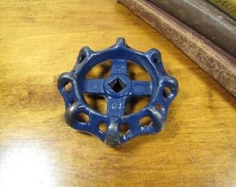 Vintage Blue Painted Cast Iron Valve - Spigot Handle