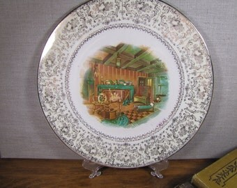 Vintage Imperial Service Plate - Salem China Co. - Warranted - 22 Karat - Made in USA - Dinner Plate - Hearth Scene