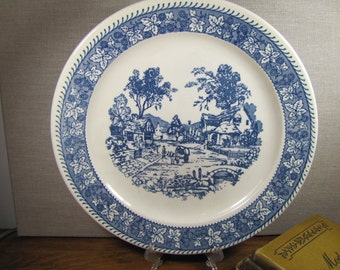 Large Vintage Homer Laughlin Shakespeare Country Blue (Leaves) Chop Plate