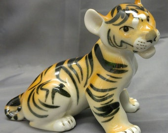 Old vintage porcelain baby tiger cub figure figurine statue made in Russia USSR
