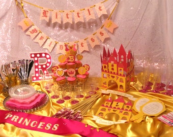 Princess Party - Party-in-a-Box for 12 people with Custom Banners and Invitations