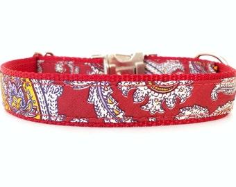 Red Dog Collar, Unique Dog Collar, Retro Dog Collar, Paisley Dog Collar, Cool Dog Collar, Fancy Dog Collar, Red and Purple Dog Collar