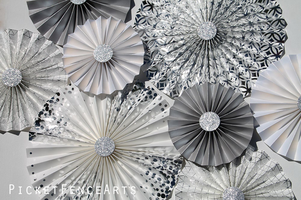 White And Silver Paper Rosettes Paper Fans Backdrop Wedding