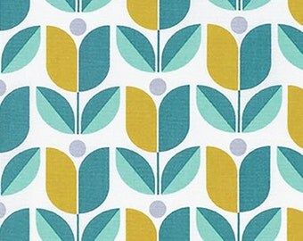 SALE** Aqua Modern Flower Fabric from Joel Dewberry's True Colors Collection by Free Spirit
