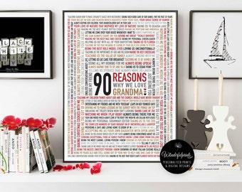 Custom 90th Birthday Gift for Grandma / For Nana / 90 Reasons Why We Love You / Gift for HER / Custom Word Art / 16x20 / DIGITAL Download /