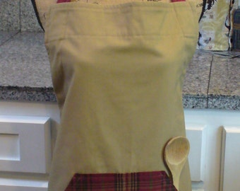 Khaki & Plaid Apron, Khaki and Red Apron, Red Plaid, Full Apron, Adjustable Apron, Work Apron, Apron with Pockets, Plaid Apron, MarjorieMae