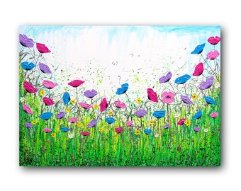 """Metal Wall Art, Metallic Painting, Floral Wall Art, Silver, Spring, Textured, Abstract Floral, """"In Love With Spring"""" 24x36"""" by SFBFineArt"""