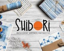Indigo Shibori Digital Paper Pack   Set of 25 lovely indigo watercolor backgrounds and patterns imitated japanese shibori technic