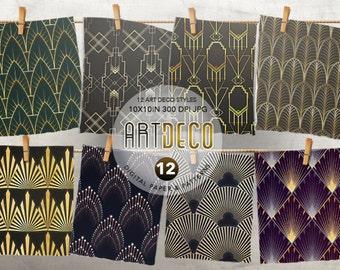 Art Deco Digital Paper, Art Deco Wallpaper, Gold Patterns, Golden Digital Paper, Retro Patterns, Geometric Patterns,  Art Deco Clipart, Gold