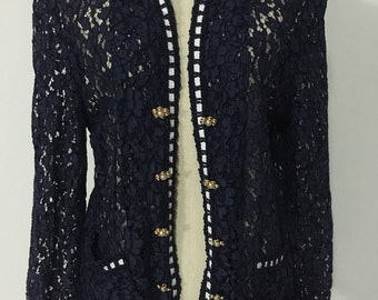 Navy Jacket | Lace Jacket | Vintage Jacket | Embroidered jacket | Floral Jacket | Chalet Blanc  Jacket | Size 9 jacket | Waist dinner jacket