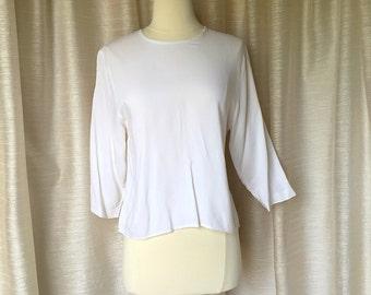 Vintage 1980's White Blouse, Three Quarter Length Sleeve Top