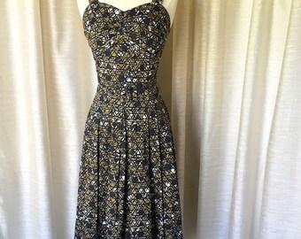 Olive and Black 1940's Dress and Matching Bolero, 40's Picnic Day Dress, Summer Dress