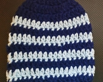 Dark blue and Light Blue striped Beanie