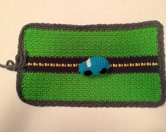 Travel Car Playmat , Crochet Playmat , Playmat, Car play Rug, Travel Toy