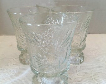 Tiara Exclusives ~ Ponderosa Pine ~ Pedestal Mug ~ Footed Drinking Glass ~ Set of Four ~ Textured ~ Embossed ~ Pinecone Design ~ Vintage