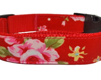 Red Cath Kidstonesque Floral Collar OR Lead
