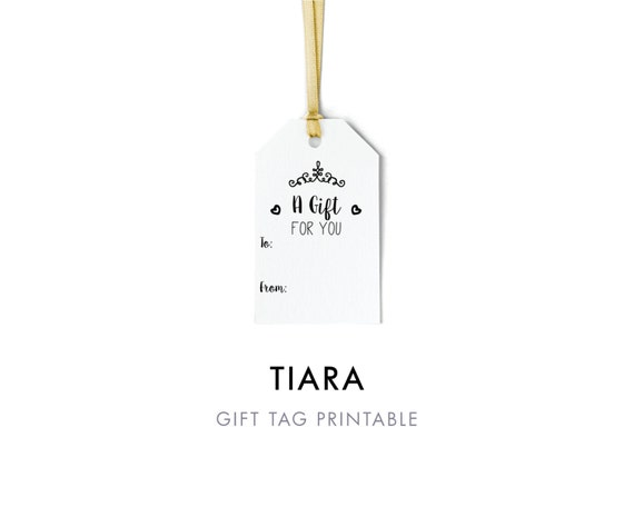 Editable Tiara Gift Tag Template To And From Tag Printable