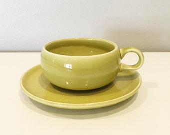 vintage Russel Wright Steubenville chartreuse cup and saucer