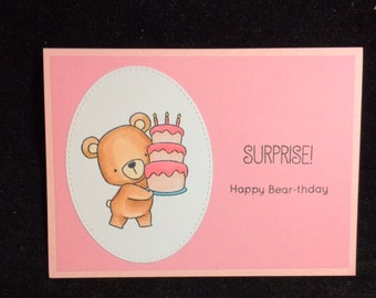 Bear With A Birthday Cake Greeting Card