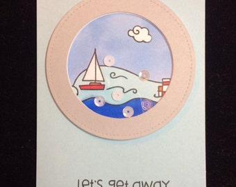 Let's Get Away Shaker Greeting Card