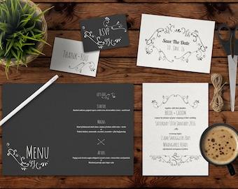 Hand-Drawn Wedding Invite Package
