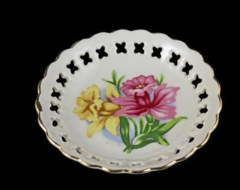 Reticulated Bowl, Small, Porcelain, Daffodils, Yellow Pink Floral, Decorative Bowl, Candy Bowl, Trinket Dish, Decorative Bowl,  Japan