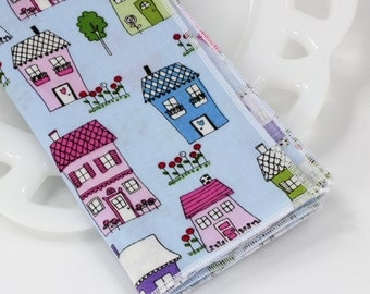 Cotton fabric napkins, cloth lunch napkins, blue table linens, whimsical decor, cottage home decor, lunch bag supplies, 12x12 set of 4