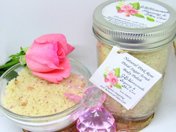 Pink Rose Petal Sugar Scrub Body Polish - 8 Oz