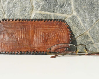 Vintage Tooled Leather Glasses Case, Spectacles Sleeve, Retro Glasses Sleeve, Glasses Holder