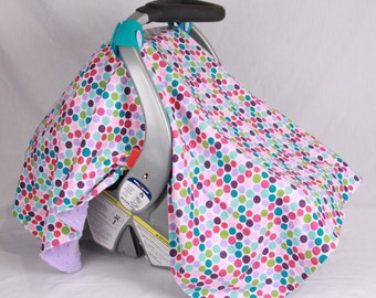 Baby Car Seat Canopy, Glitter Polka Dot, Baby Girl Cover, Baby Car Seat Cover, Infant Car Seat Canopy, Baby Shower Gift