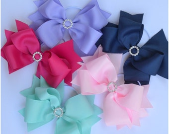 "Beautiful ""Emmy"" boutique bow, 6 inch hair bows, hair accessories, hair ties, hair clips, girls headband, big bows"