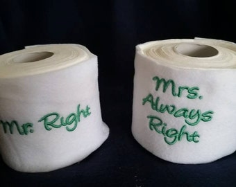 Mr Right/Mrs Always Right Toilet Tissue Toilet Paper Cover Set of 2