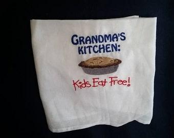 Grandma's Kitchen Embroidered Flour Sack Towel