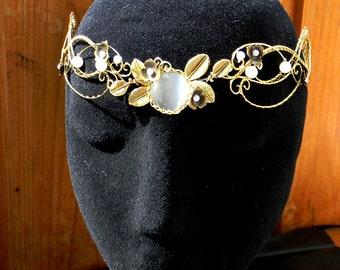 Elven tiara gold Celtic Bridal Circlet, Elven Elvish Head piece Renaissance Wedding Medieval Headdress Tiara LOTR Arwen Diadem Fair Maiden