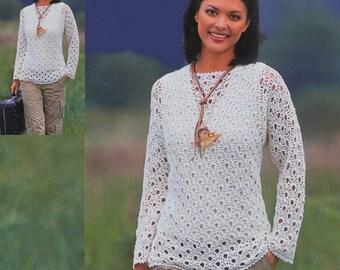 Mesdames chandail blanc crochet / custom