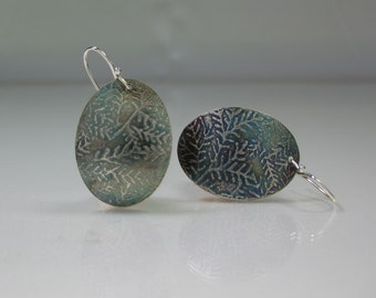 Earrings Argentium Silver Ovals Etched Lichen Moss Pattern Antiqued