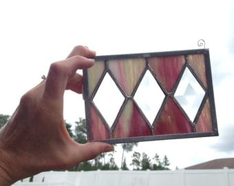Stained Glass Panel -Pink/White/Green Bevels